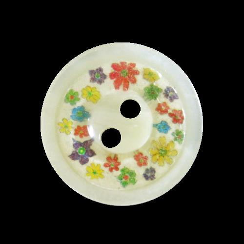Süßer creme weißer Knopf mit winzigen bunten Blüten