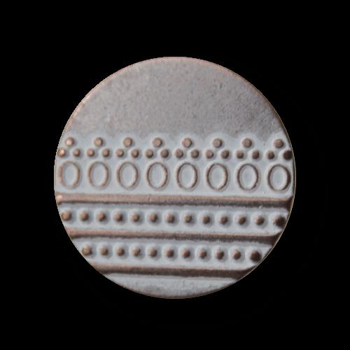 Kupfer-silberfb. Metallknopf m. weißem Nostalgiemuster