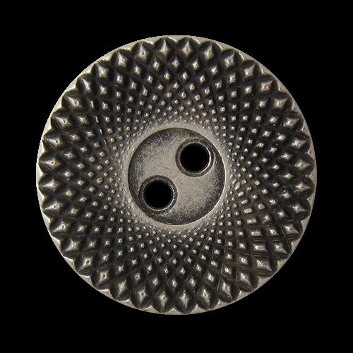 www.knopfparadies.de - 2045as - Flache Metalknöpfe in altsilber mit zwei Löchern