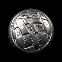 Chromfarbener Knopf mit schrägem Schachbrettmuster