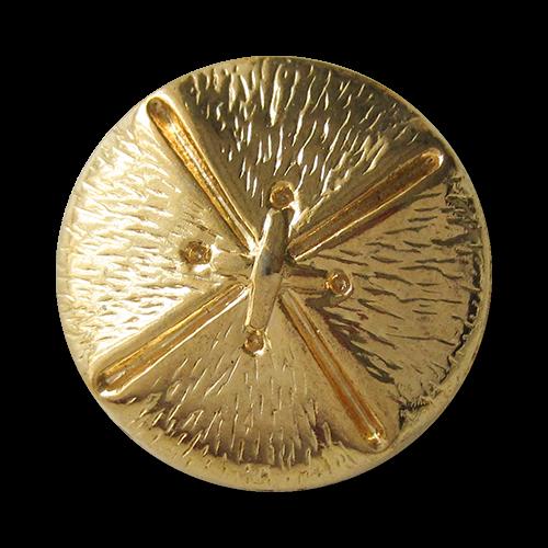 www.Knopfparadies.de - 5836go - Goldene Metallknöpfe mit Kreuzstich Optik