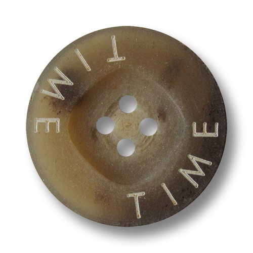 """www.Knopfparadies.de - 2661hb - Moderne braune Kunststoffknöpfe in Horn Optik mit weißem Schriftzug """"TIME"""""""