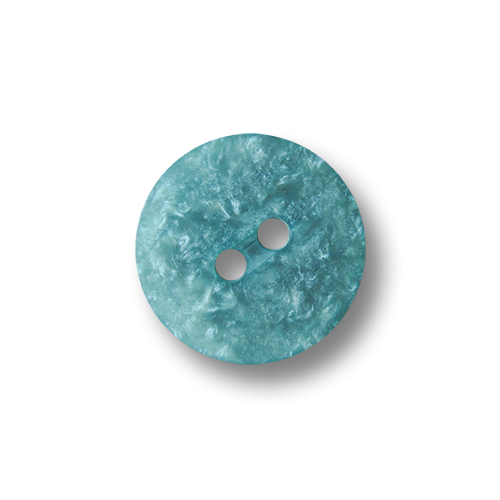 Kleine flache perlmuttartig türkis hellblaue Zweiloch Kunststoff Knöpfe