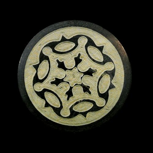 Brauner Büffelhorn Knopf mit ausdrucksstarkem Muster