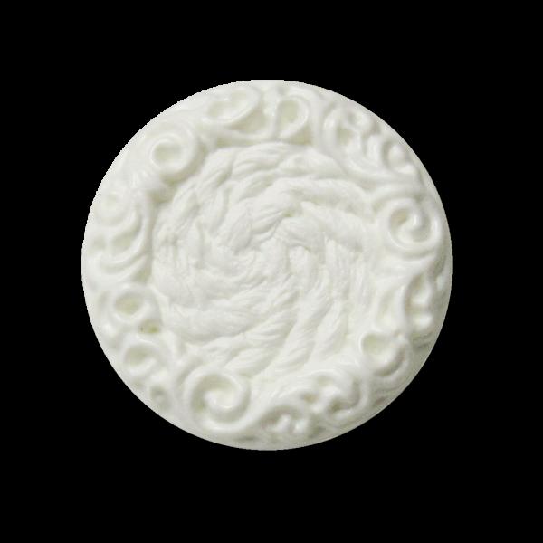 Weißer Kunststoffknopf im Posamenten-Look