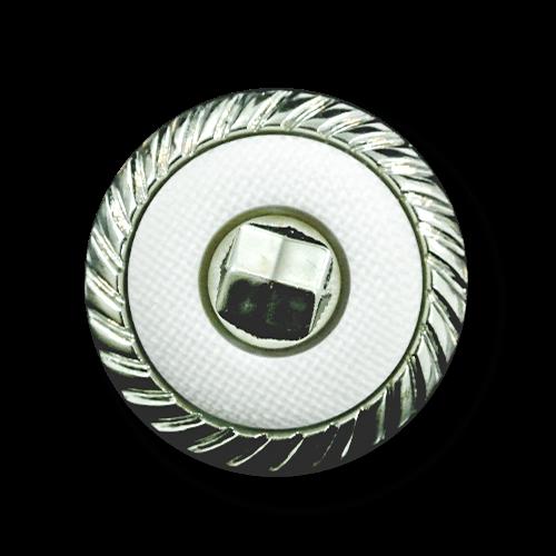 Attraktiver weiß silberfarbener Knopf in Metall Optik