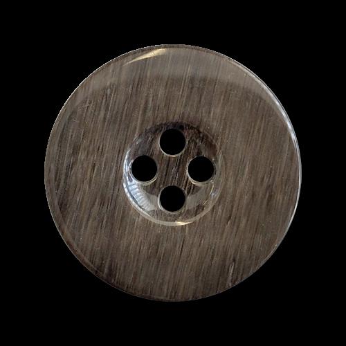 www.knopfparadies.de - 4372ta - Grau-braune Mantelknöpfe aus Kunststoff mit vier Löchern