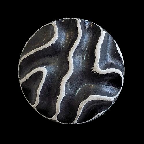 www.knopfparadies.de - 6024sw - Ausgefallene Kunststoffknöpfe in schwarz-weiß
