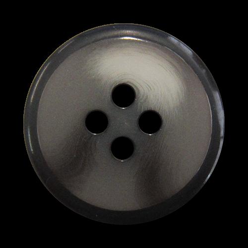 www.knopfparadies.de - 5735gr - Elegante grau melierte Vierlochknöpfe mit schwarzem Rand