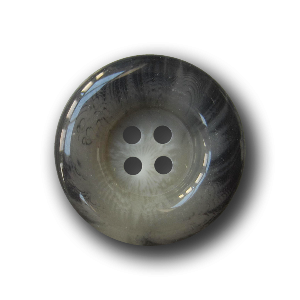Edler grau melierter Knopf mit Wulstrand in Horn Optik