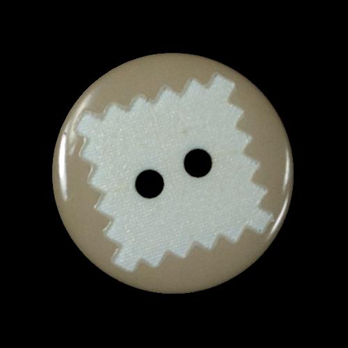 Beiger Knopf mit weißem Briefmarken Muster