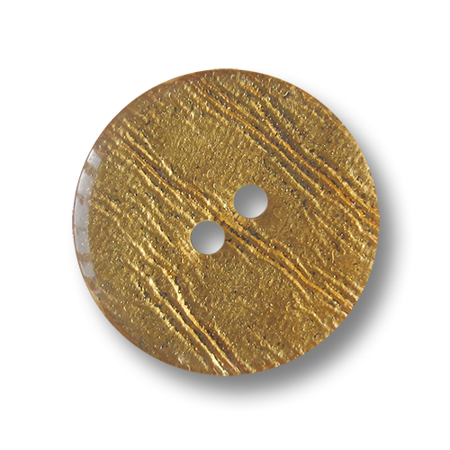 Goldfarbener Zweiloch Kunststoff Knopf in Blattgold Optik
