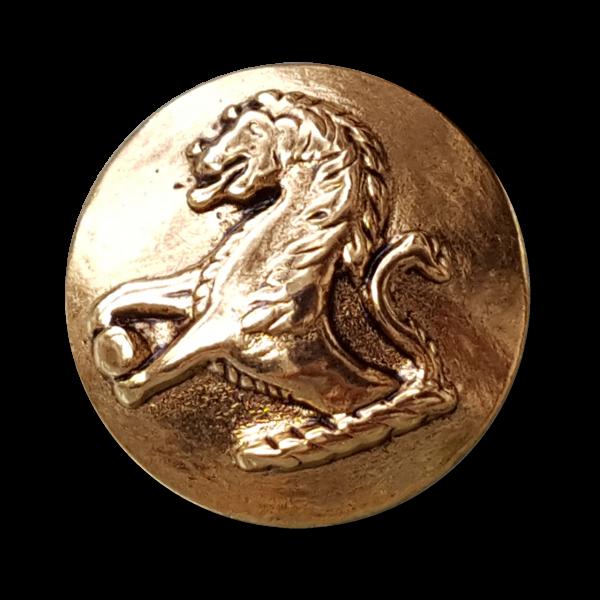 Metallknopf mit historischem Löwen Motiv, altgoldfarben, Ösenknopf