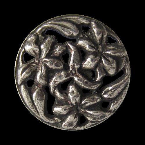 www.Knopfparadies.de - 0344as - Wunderschöne silberne Metallknöpfe mit Blumen Durchbruch Muster
