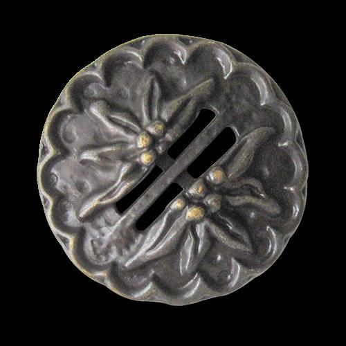 www,knopfparadies.de - 0551am - Riesige altmessingfarbene Trachtenknöpfe mit Edelweß Motiv