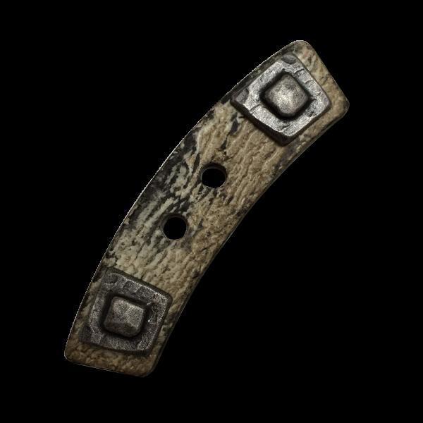 www.Knopfparadies.de - 5533br - Rustikale gebogene Knebelknöpfe mit Metall Optik Applikation