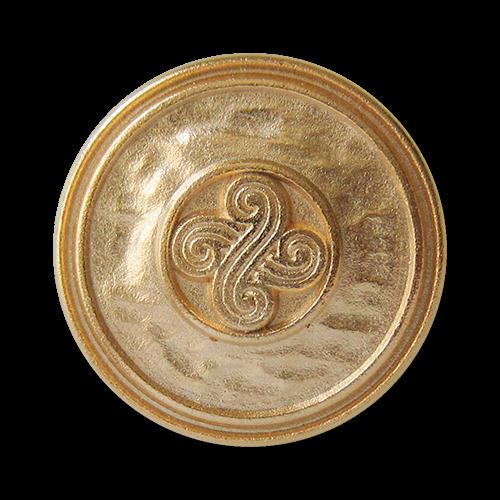 www.Knopfparadies.de - 3318go - Historisch wirkende goldene Metallknöpfe mit Symbol
