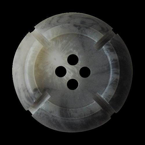 www.Knopfparadies.de - 3018gr - Edle grau melierte Kunststoffknöpfe in Büffelhorn Optik