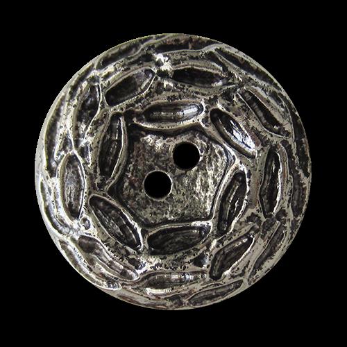 www.Knopfparadies.de - 1575as - Große leichte altsilberfarbene Kunststoffknöpfe in Metall Optik