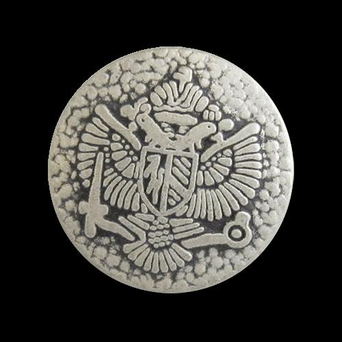 www.Knopfparadies.de - 0858as - Authentische Ösenknöpfe aus Metall mit Adlermotiv in Altsilber