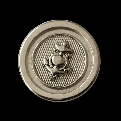 Metall Ösen Knopf mit Anker Motiv in Silberfarben