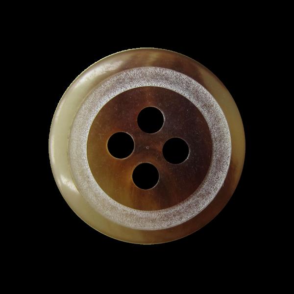 Braun melierter Vierloch Knopf in Büffelhorn Optik