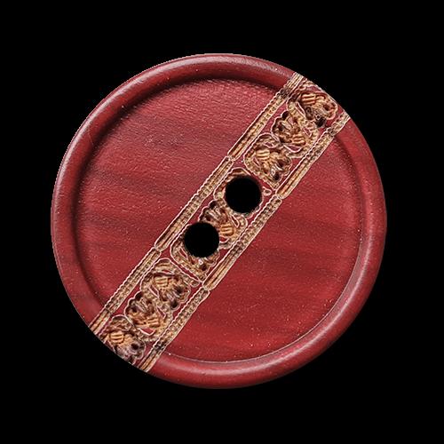 Roter Holz Knopf mit Zier Bordüre und zwei Knopflöchern