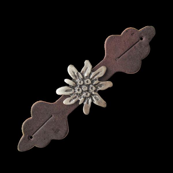 Zier- oder Verschlussriegel aus braunem Leder mit silberfb. Edelweiß
