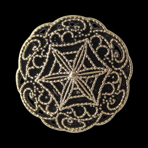 www.Knopfparadies.de - 1645ag - Filigran gemusterte Metallknöpfe in Altgold wie aus dem Jugendstil