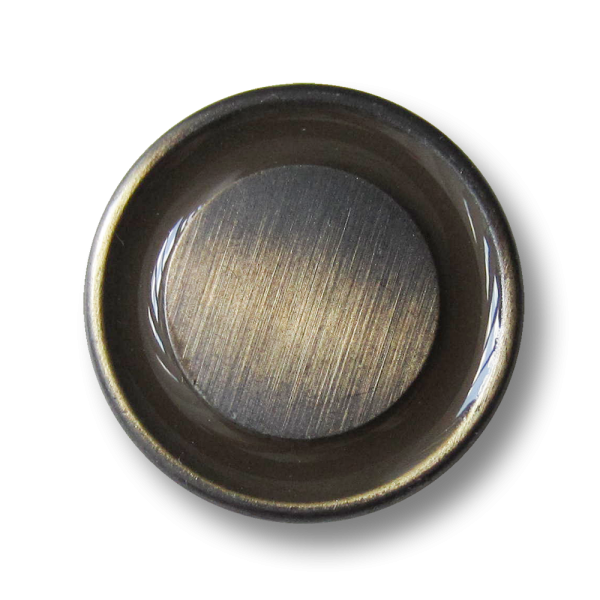 Metall Ösen Knöpfe mit braun glänzendem Ring in Bicolor-Optik