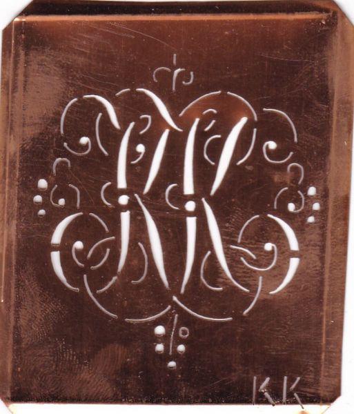 www.knopfparadies.de - KK-sch-557 - Aussteuerschablone, Wäsche-Schablone Schnörkel Kupfer Monogramm KK