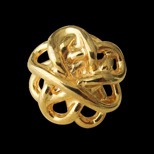 Metall Ösen Knopf wie verschlungener Knoten in glänzend Goldfarben
