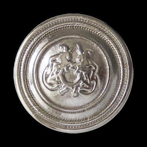 www.Knopfparadies.de - 2453si - Silberne Ösen Metallknöpfe mit Pferde Motiv
