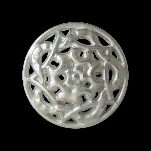 www.knopfparadies.de - 3180si - Silberfarbene Metallknöpfe mit Durchbruchmuster