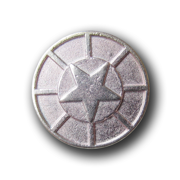 Silberfb. Stern Metall Knopf m. rosa Schimmer / B-WARE