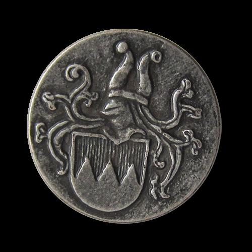 Altsilberfarbene Metallknöpfe mit Wappen: Fränkischer Rechen