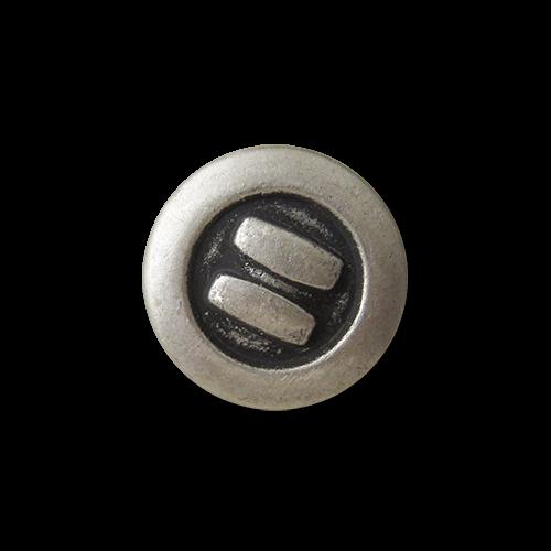 www.Knopfparadies.de - 1653as - Kleine altsilberfarbene Metallknöpfe mit Streifen in Used Optik