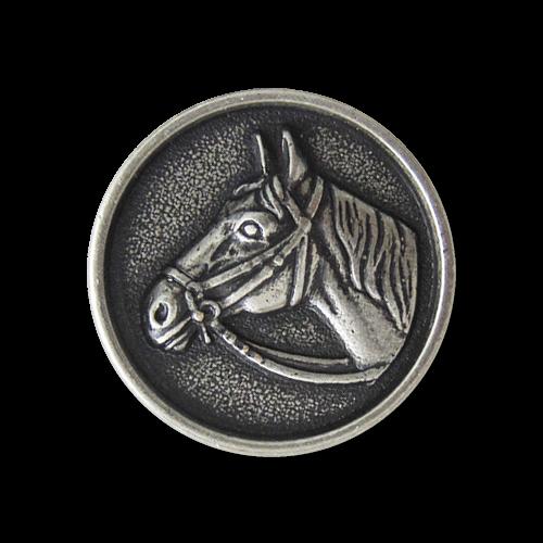 Knopfparadies - Metallknopf mit Pferdekopf