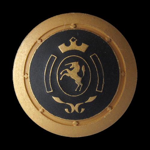 www.Knopfparadies.de - 0317gs - Schwarz goldene Metallknöpfe mit Einhorn Wappen