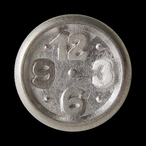 www.Knopfparadies.de - 0285si - Originelle Metallknöpfe in Altsilber mit Uhr Motiv