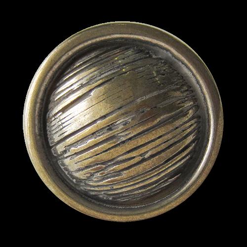 www.Knopfparadies.de - 2527sm - Urige messing & silberfarbene Metallknöpfe mit Schraffierung