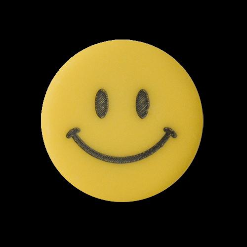 www.Knopfparadies.de - 2517ge - Fröhliche Kunststoffknöpfe mit lachendem Smiley / Emoji- Gesicht in Gelb