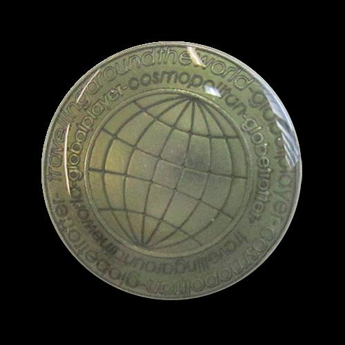 www.knopfparadies.de - 3121gn - Silberfarbene Blazerknöpfe mit grünem Motiv: Globus