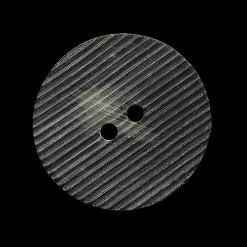 Graubrauner Zweilochknopf mit zarter Riefelung