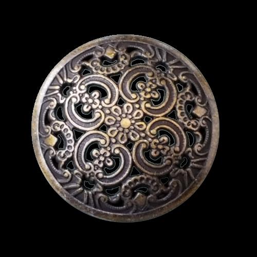 Altmessingfarbene Metallknöpfe mit Durchbruchmuster