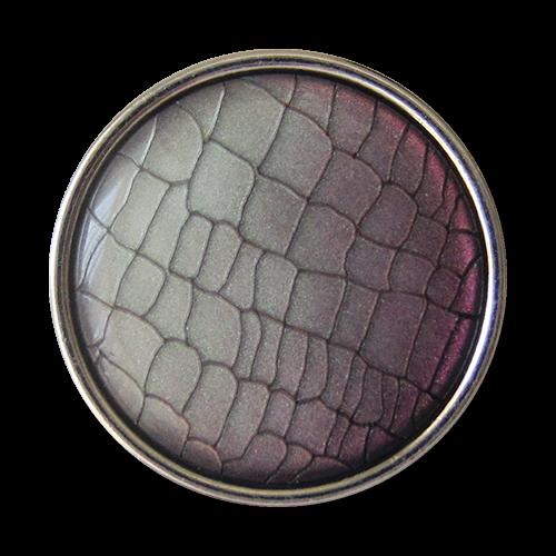 www.Knopfparadies.de - 1673ls - Silberne Metallknöpfe mit lila grauem Reptil Muster