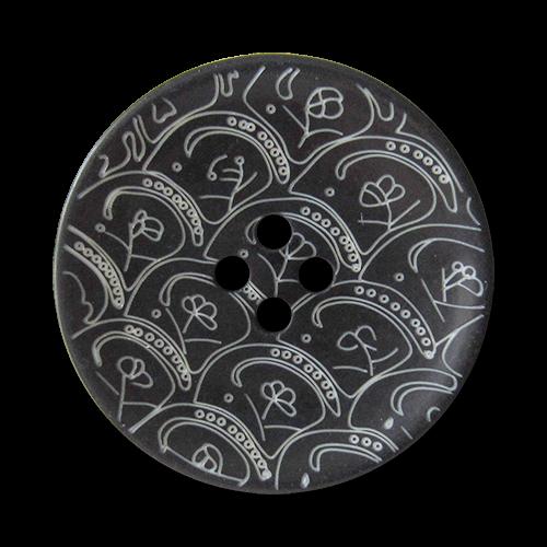 www.Knopfparadies.de - 1669sc - Wunderschöne schwarz weiß gemusterte Vierloch Kunststoffknöpfe