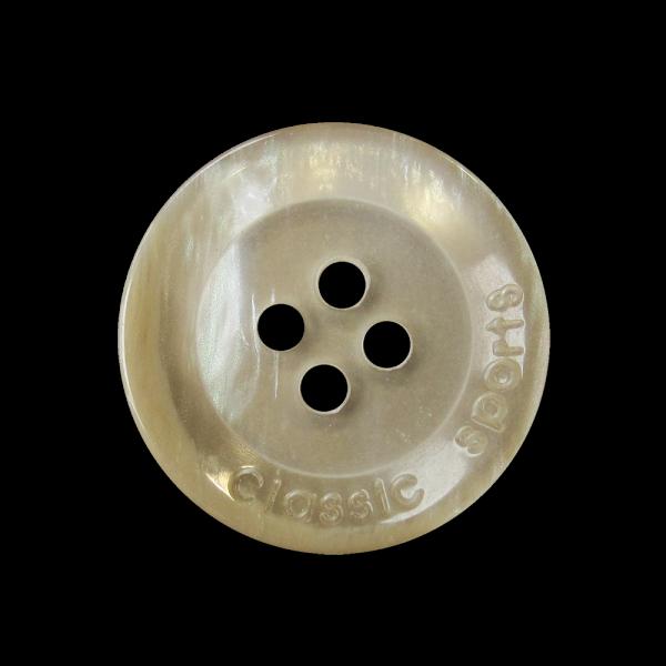 Edler tellerförmiger Vierloch Knopf in Perlmutt Optik
