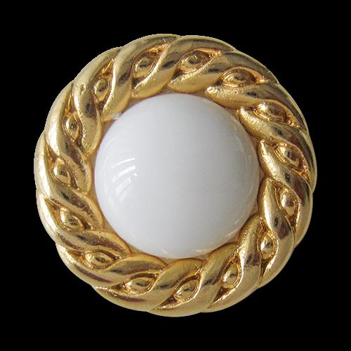 www.Knopfparadies.de - 1453wg - Dekorative gold weiße Ösen Knöpfe aus Metall & Kunststoff