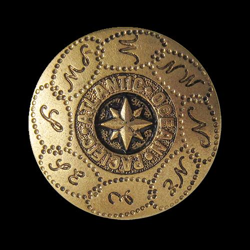 www.Knopfparadies.de - 0804ag - Ausgefallene goldene Ösenknöpfe mit Marine Motiv